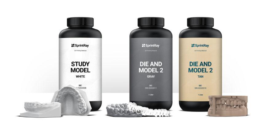 image showing three resin bottles for 3D printing dental models